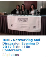 Photos of the IMUG Netowrking and Discussion Evening at the 2012 Internationalization and Localization Conference