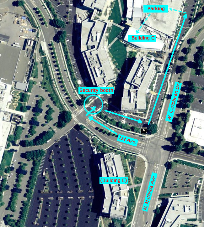 Map of Yahoo campus showing directions to IMUG meeting